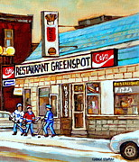 Hot Dog Joints Prints - Greenspot Restaurant Notre Dame Street  South West Montreal Paintings Winter Hockey Scenes St. Henri Print by Carole Spandau