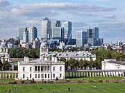 Royal Naval College Art - Greenwich and Canary Wharf by Gill Billington