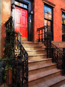 Brownstone Framed Prints - Greenwich Village Brownstone with Red Door Framed Print by Susan Savad