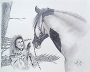 Wild Horses Drawings Originals - Greeting at the Monument by Joette Snyder