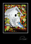 Blue Jay Images Posters - Greeting Card - Blue Habitat Poster by Andrew Wells