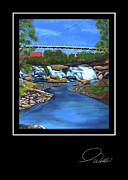 Rivers In The Fall Painting Prints - Greeting Card - Liberty Bridge Print by Andrew Wells