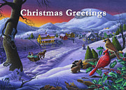 Snow Scene Painting Originals - greeting card no 14 Christmas Greetings by Walt Curlee