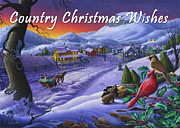 Snow Scene Painting Originals - greeting card no 14 Country Christmas Wishes by Walt Curlee