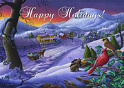 Snow Scene Painting Originals - greeting card no 14 Happy Holidays by Walt Curlee