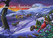 Snow Scene Painting Originals - greeting card no 14 Have a warm Appalachian Merry Christmas by Walt Curlee