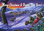 Small Town Life Art - greeting card no 14 Merry Christmas and Happy New Year by Walt Curlee