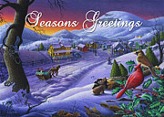 Snow Scene Painting Originals - greeting card no 14 Seasons Greetings by Walt Curlee