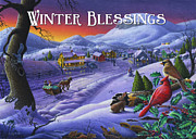 Small Town Life Art - greeting card no 14 Winter Blessings by Walt Curlee