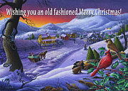 Snow Scene Painting Originals - greeting card no 14 Wishing you an old fashioned Merry Christmas by Walt Curlee