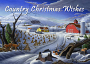 Snow Scene Painting Originals - greeting card no 3 Country Christmas Wishes by Walt Curlee