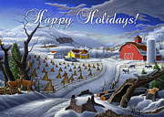 Dakota Paintings - greeting card no 3 Happy Holidays by Walt Curlee