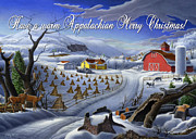 Snow Scene Painting Originals - greeting card  no 3 Have a warm Appalachian Merry Christmas by Walt Curlee