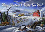 Snow Scene Painting Originals - greeting card no 3 Merry Christmas and Happy New Year by Walt Curlee