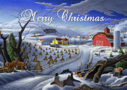 Snow Scene Painting Originals - greeting card no 3 Merry Christmas by Walt Curlee