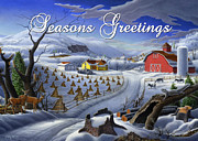 Snow Scene Painting Originals - greeting card no 3 Seasons Greetings by Walt Curlee