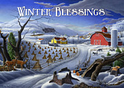 New England Winter Originals - greeting card no 3 Winter Blessings by Walt Curlee