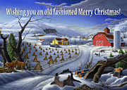 Snow Scene Painting Originals - greeting card no 3 Wishing you an old fashioned Merry Christmas by Walt Curlee