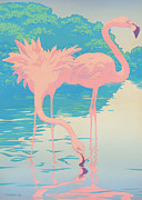 Flamingos Paintings - Greeting Card Pink Flamingos Landscape by Walt Curlee