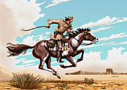 Delivering Digital Art - Greeting Card Pony Express Rider by Walt Curlee
