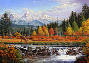 Fall Panorama Paintings - Greeting Card Trapper and Beaver Dam by Walt Curlee