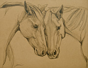 Horses Drawings - Greetings Friend by Jani Freimann