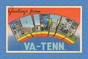 Virginia Postcards Posters - Greetings from Bristol VA-TN  Large Letter Poster by Denise Beverly