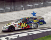 Tire Mixed Media Originals - Greg Biffle Wins at Texas by Paul Kuras