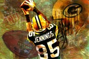 Most Digital Art Metal Prints - Greg Jennings 85 Green Bay Packers Metal Print by Jack Zulli