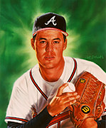 Baseball Pitchers Paintings - Greg Maddux by Dick Bobnick