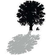 Silhouette Tree Prints - Gregorys thoughts lead him to question the very nature of his existence Print by Mike Swift