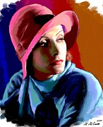 Movie Stars Painting Prints - Greta Garbo Print by Allen Glass