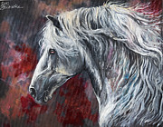 Arabians Framed Prints - Grey andalusian horse oil painting Framed Print by Angel  Tarantella