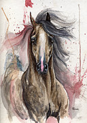 Horse Drawings - Grey arabian horse 15 10 2013 by Angel  Tarantella