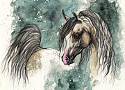 Horse Drawing Painting Prints - Grey arabian horse 2013 11 18 a Print by Angel  Tarantella
