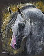 White Horse Painting Originals - Grey arabian horse oil painting 1 by Angel  Tarantella