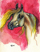 Horse Drawings - Grey Arabian Horse On Red Background 28 10 2013 by Angel  Tarantella