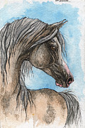Drawing Painting Originals - Grey Arabian Horse Watercolor Painting 5 by Angel  Tarantella