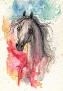 Drawing Painting Originals - Grey Arabian Horse With Rainbow Fantasy Background 2013 11 15 by Angel  Tarantella