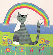 Illustration Tapestries - Textiles Prints - Grey cat under rainbow Print by Yana Vergasova