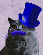 Moustache Prints - Grey cat with Blue Moustache and Tophat Print by Kelly McLaughlan