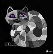 Animals Acrylic Prints - Grey Cat with Purple Eyes Acrylic Print by Nick Gustafson