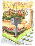 Mail Box Painting Framed Prints - Grey mail box in Beverly Hills - California Framed Print by Carlos G Groppa
