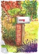 Boxes Painting Originals - Grey-mail-box-near-the-Fairfax-Public-Library-Los-Angeles-CA by Carlos G Groppa