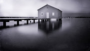 Boat Shed Prints - Grey Morning at the Boat Shed Print by Kym Clarke