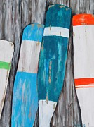 Paddles Paintings - Grey Oars by Kris  Hicks