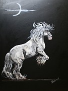 Gypsy Drawings Prints - Grey Paint Gypsy Vanner Print by Bj Redmond
