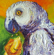 Paris Wyatt Llanso Metal Prints - Grey Parrot and Juicy Mango Metal Print by Paris Wyatt Llanso