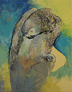 Impasto Oil Paintings - Grey Parrot by Michael Creese