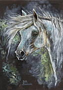 White Horse Painting Originals - Grey Pony with long mane oil painting by Angel  Tarantella